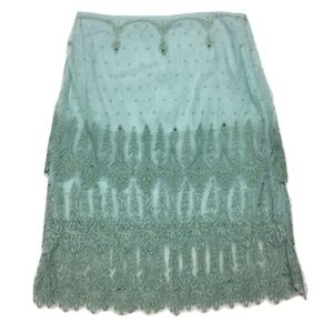 Anthro Odille Beaded Sage Green Skirt